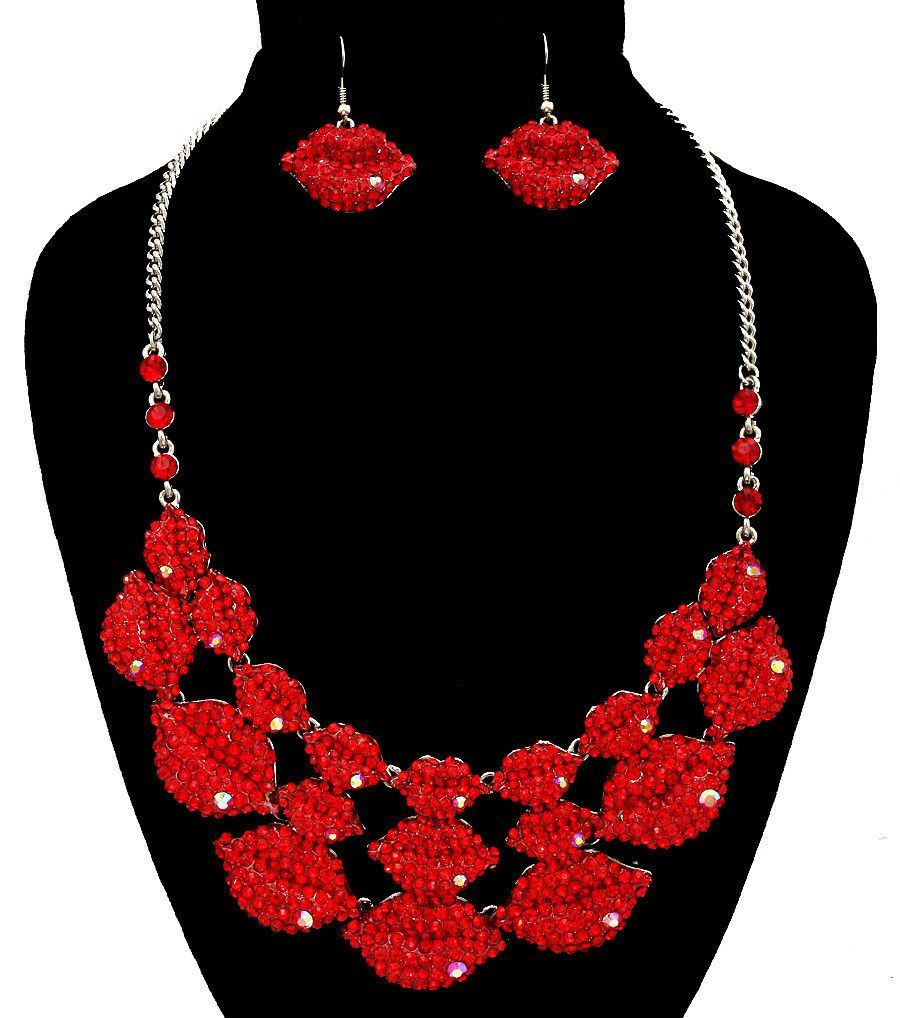 Red Lips Necklace Set Necklace Set Metal Necklaces Red Lips