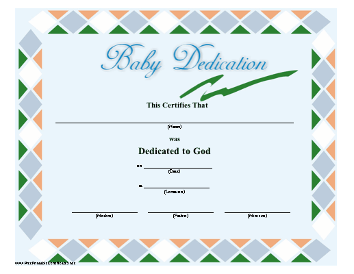 A Green Blue Orange And WhiteBordered Baby Dedication