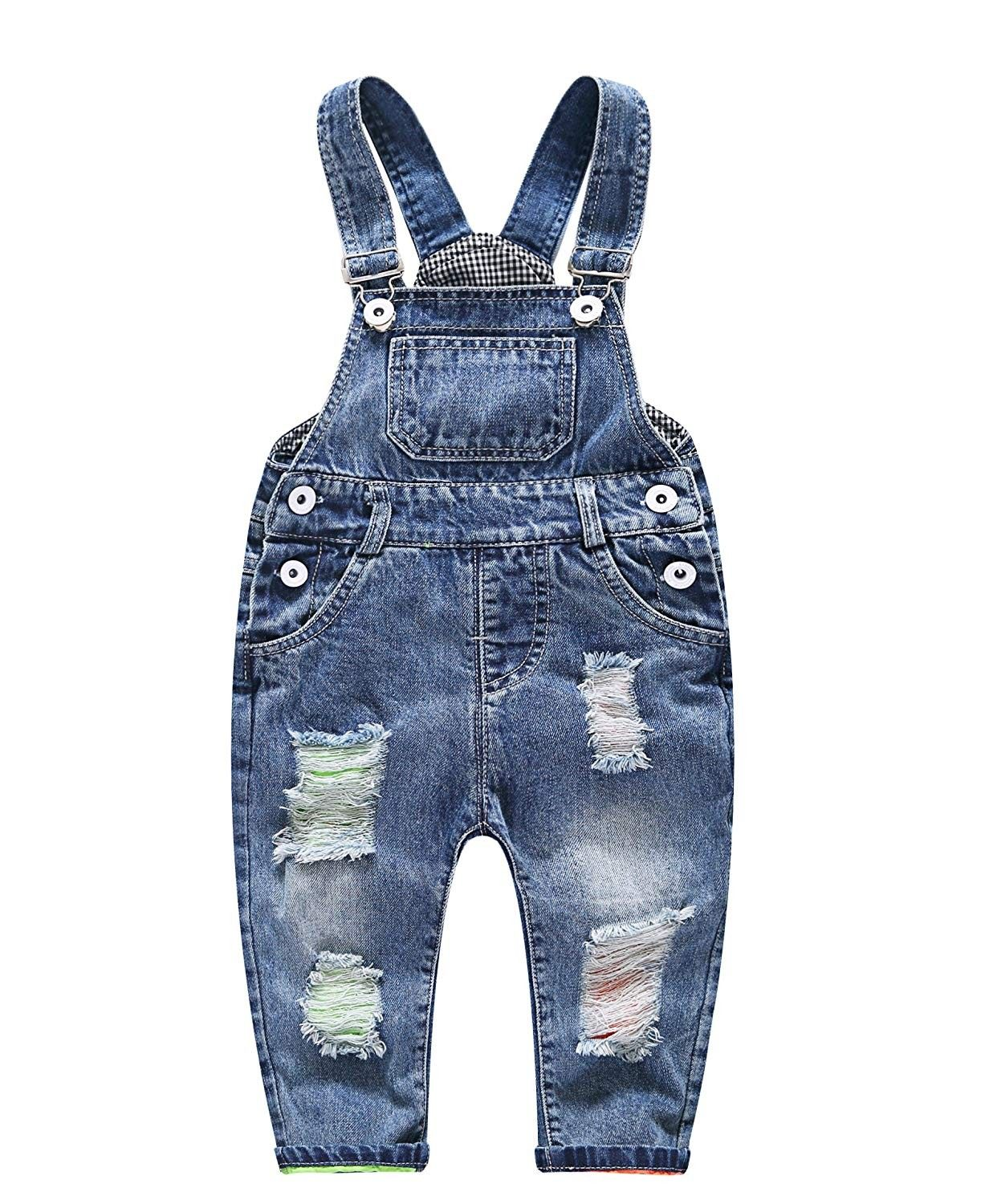Toddler Kids Baby Girl Boy Overalls Trousers Pants Suspender Denim Jeans Clothes