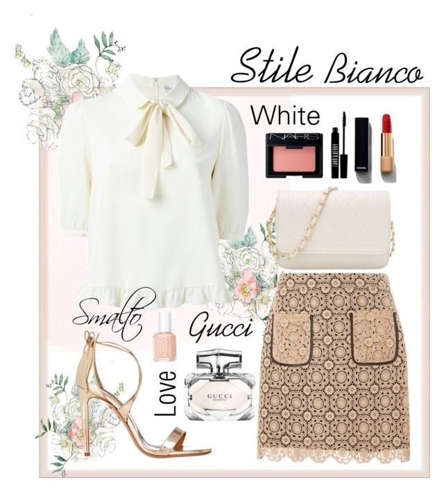 """""""Stile Bianco"""" by jasmeenjk ❤ liked on Polyvore featuring Dorothy Perkins, Gucci, Chanel, Lord & Berry, NARS Cosmetics, Aquazzura and Essie"""