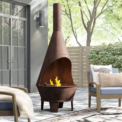 Stone Veneer Propane Natural Gas Outdoor Fireplace In 2020 Wood Burning Fire Pit Wood Burning Fires Chiminea