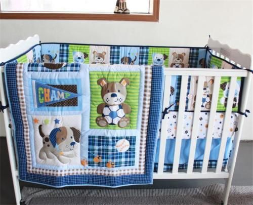 Sports Puppy Dog Boys Crib Nursery Baby Bedding Set Quilt Bumper Sheet Skirt Baby Boy Bedding Baby Bed Crib Bedding Boy