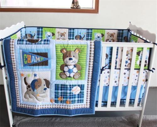 Sports Puppy Dog Boys Crib Nursery Baby Bedding Set Quilt Bumper Sheet Skirt Baby Boy Bedding Baby Boy Bedding Sets Crib Bedding Boy
