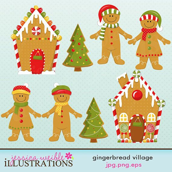 gingerbread village cute digital clipart commercial use