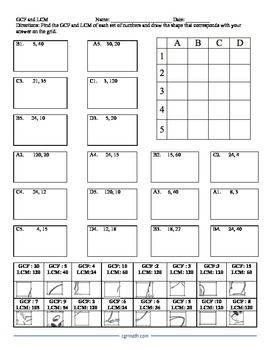 Gcf And Lcm Puzzle Activity Worksheet With Images Lcm And Gcf