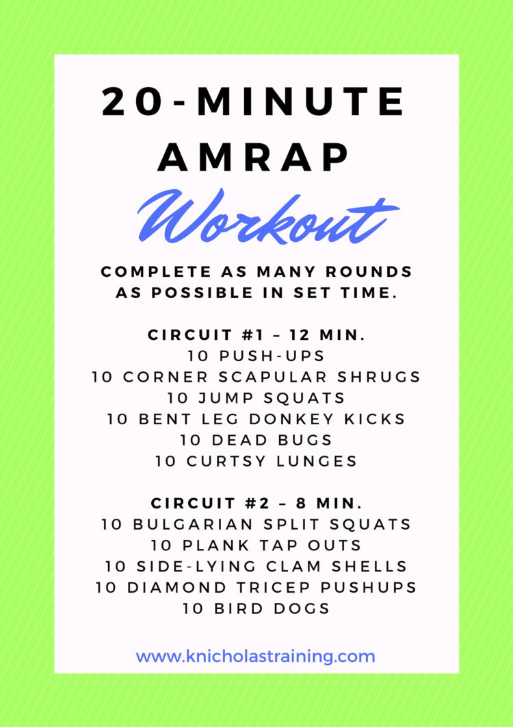 No Time To Exercise Workout Karen Nicholas Training Amrap Workout At Home Workouts Amrap