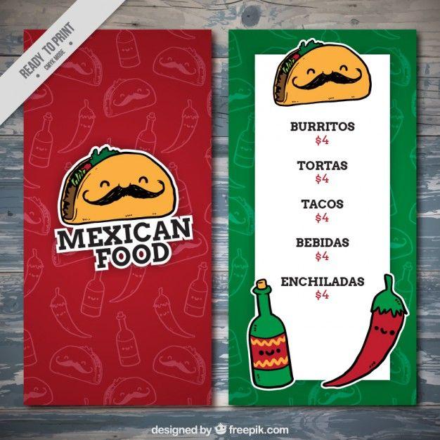 Funny mexican food menu template Free Vector Design Pinterest