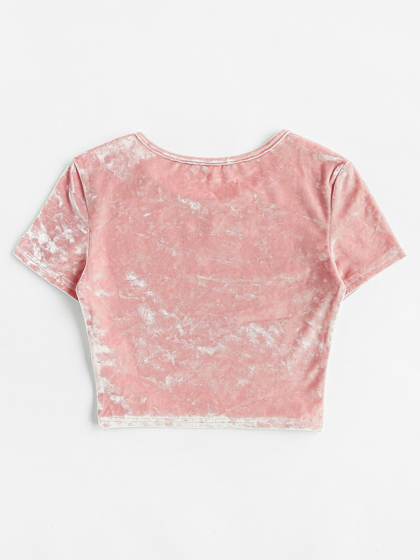 0ae4913380dfc1 Slim Fit Crop Crushed Velvet Tee -SheIn(Sheinside)