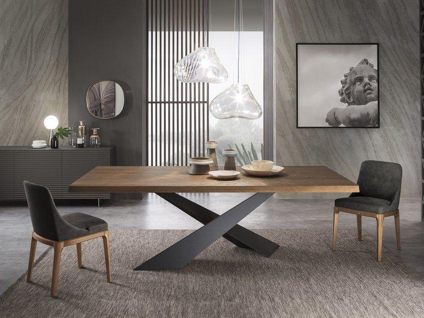 Rechteckiger Esstisch aus Holz LIVING - Graphite & Walnut By RIFLESSI