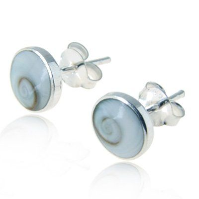 Feel this 925 Sterling Silver Tiny Shiva Eye White Swirl Shell Post Stud Earrings 5 mm Fashion Jewelry for Women, Teens, Girls - Nickel Free