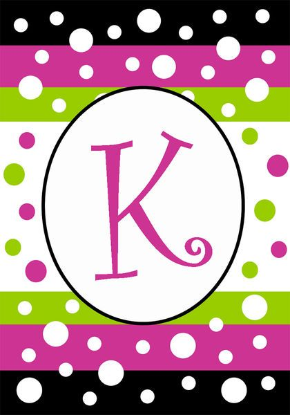 k monogram mini flag polka dot party