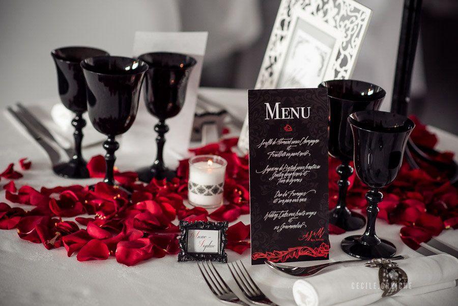 Centre de table mariage baroque - mariage noir et rouge - Wedding ...