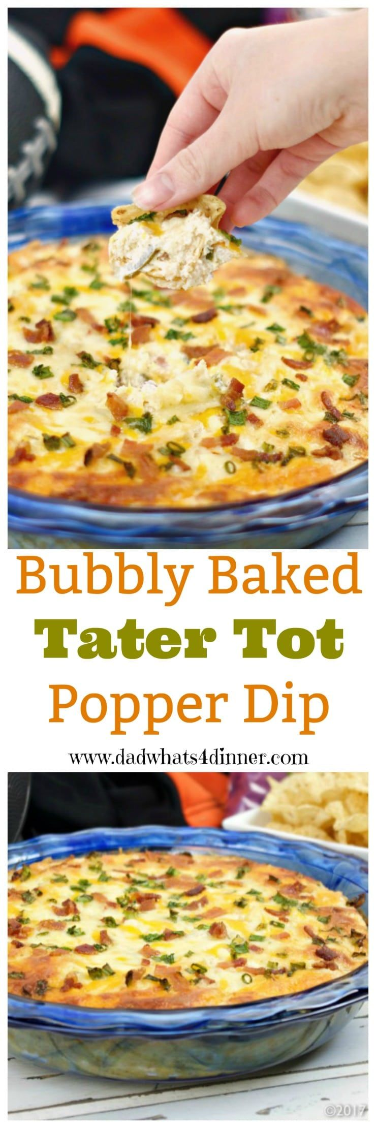 Bubbly Baked Tater Tot Popper Dip is a mash-up of two of my favorites, tater tots, and jalapeno popper dip. Perfect for tailgating or family game night.  #ad @familydollar #gameday #biggame #appetizer #dips #jalapenos #deliciousfood #recipes #tailgating #spicy www.dadwhats4dinner.com via @dadwhats4dinner
