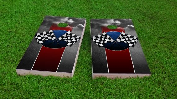Remarkable Checkered Flag Racing Theme 2X4 Custom Cornhole Board Set Ocoug Best Dining Table And Chair Ideas Images Ocougorg