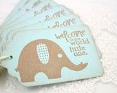 Elephant Tags Blue Baby Shower Christening Favor Gift Tags Set of 10