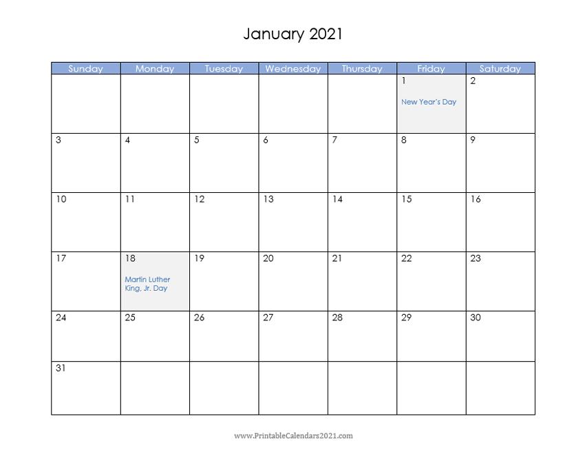 Printable Calendar 2021 January In 2020 Monthly Calendar Printable Printable Calendar Printable Calendar Design