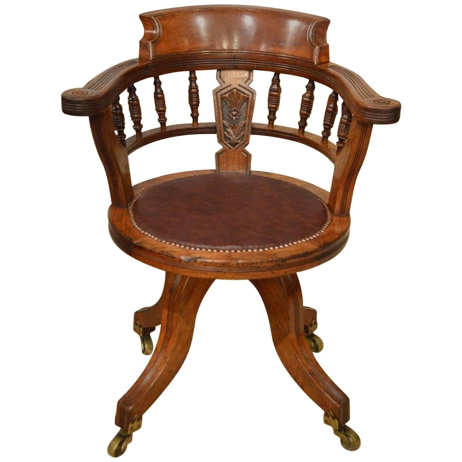Walnut Victorian Period Revolving Desk Chair | From a unique collection of antique and modern armchairs at…
