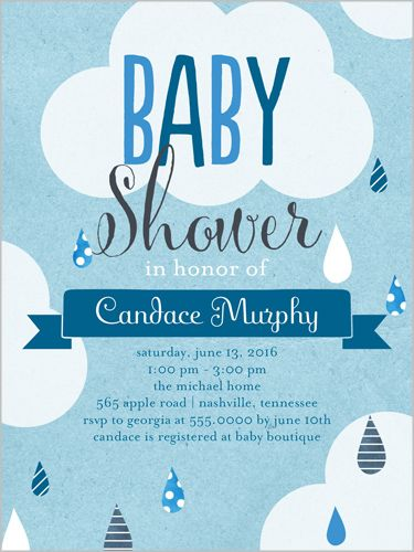 Baby Shower Invitation Patterned Raindrops Boy Square Blue