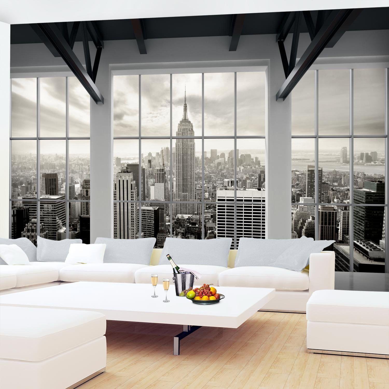 Dachboden über küchenideen fototapete fenster nach new york vlies wand tapete wohnzimmer