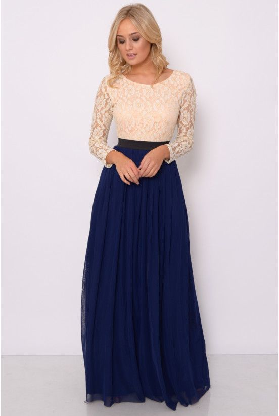 b29431103b19a8 Image for Nude and Navy Lace Long Sleeve Maxi