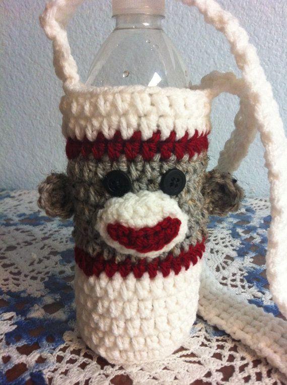 Sock+Monkey+Water+Bottle+Holder | DIY Crafts | Pinterest | Tejido