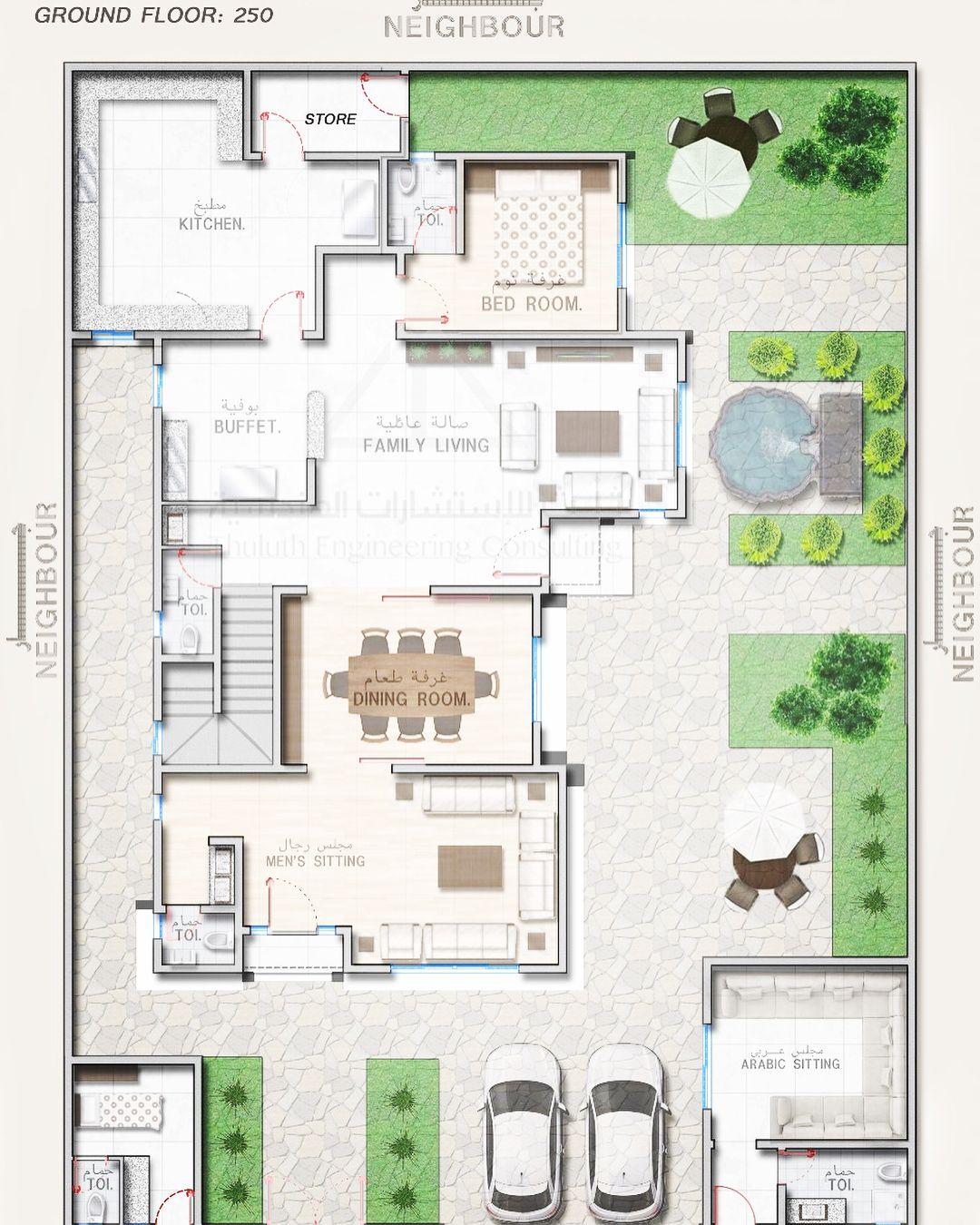م خطط ن موذجي لف يلا بمس احة أرض ٤٠٠ م٢ تصميم واجهات فلل شاليهات جمال House Layout Plans Modern Floor Plans Home Map Design