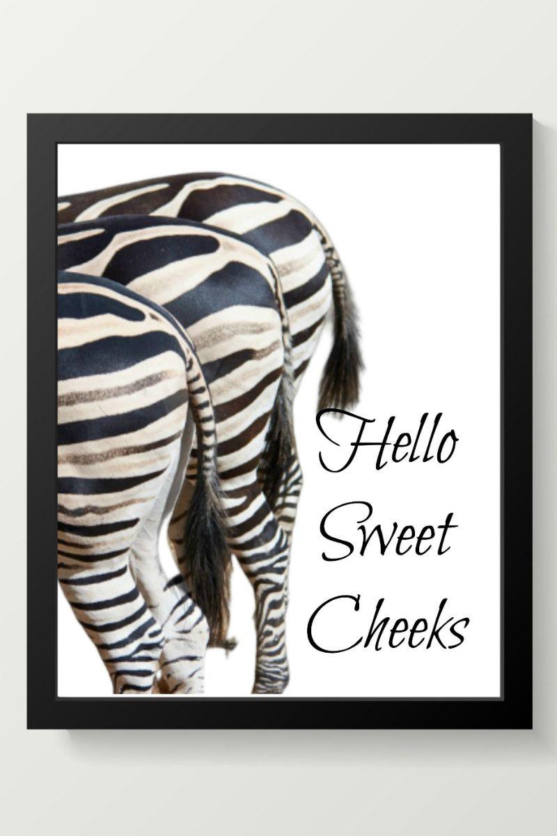 Hello Sweet Cheeks Sign Bathroom Printable Hello Sweet Cheeks Zebra Decor Hello Sweet Cheeks Sign Zebra bathroom wall decor
