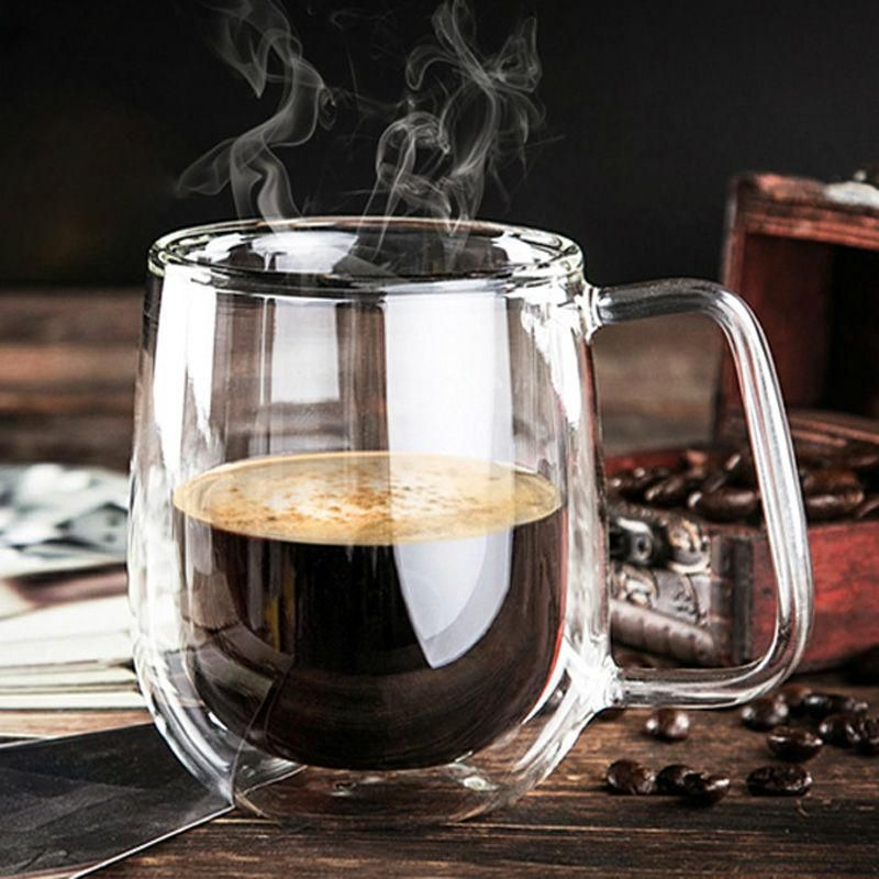 Double Wall Glass Full Size Coffee Mug, Handmade 250ml High