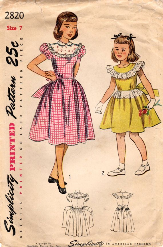 1940s Simplicity 2820 Vintage Sewing Pattern Girl\'s Party Dress, One ...