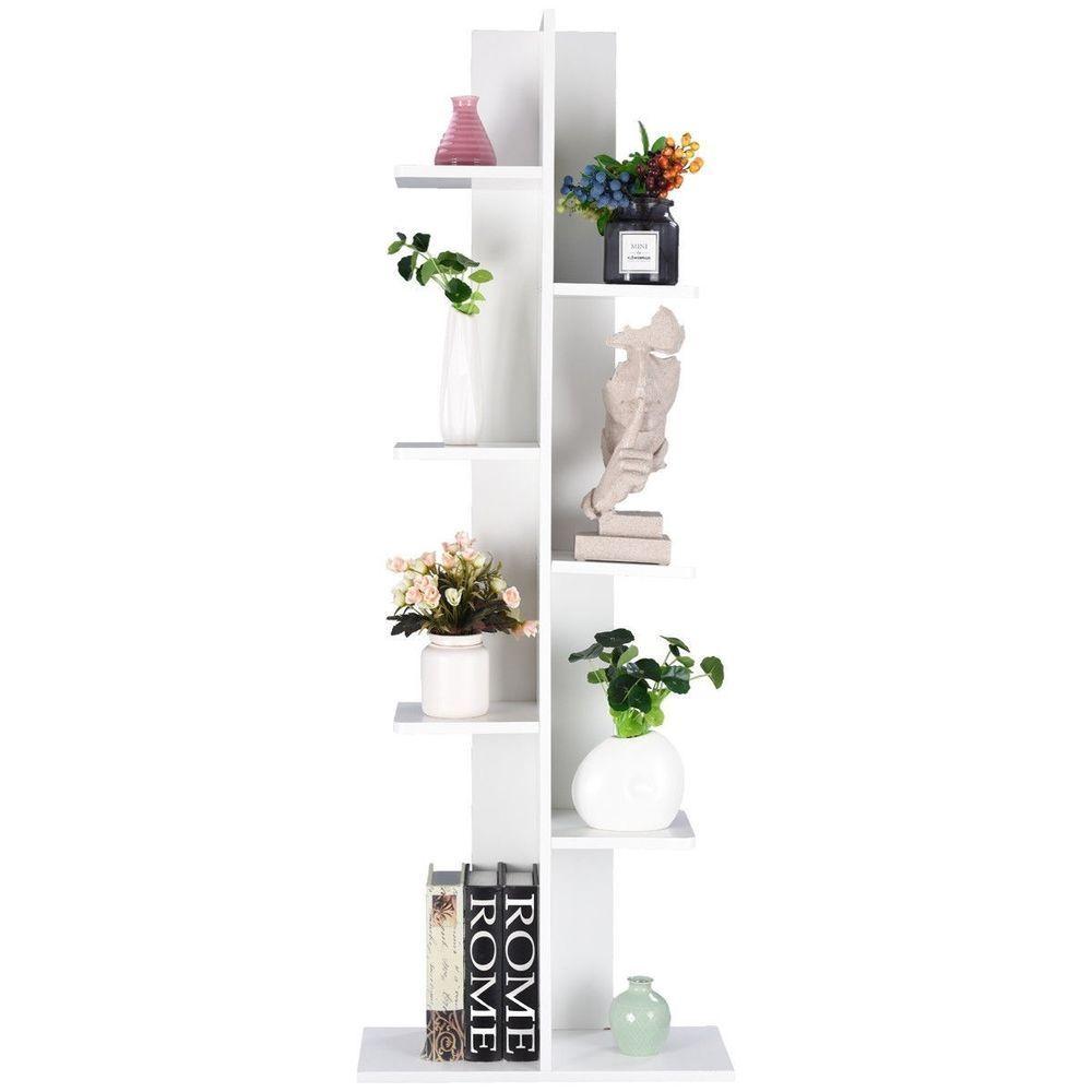 Open Concept Bookcase Plant Display Shelf Rack Storage Holder Wooden White