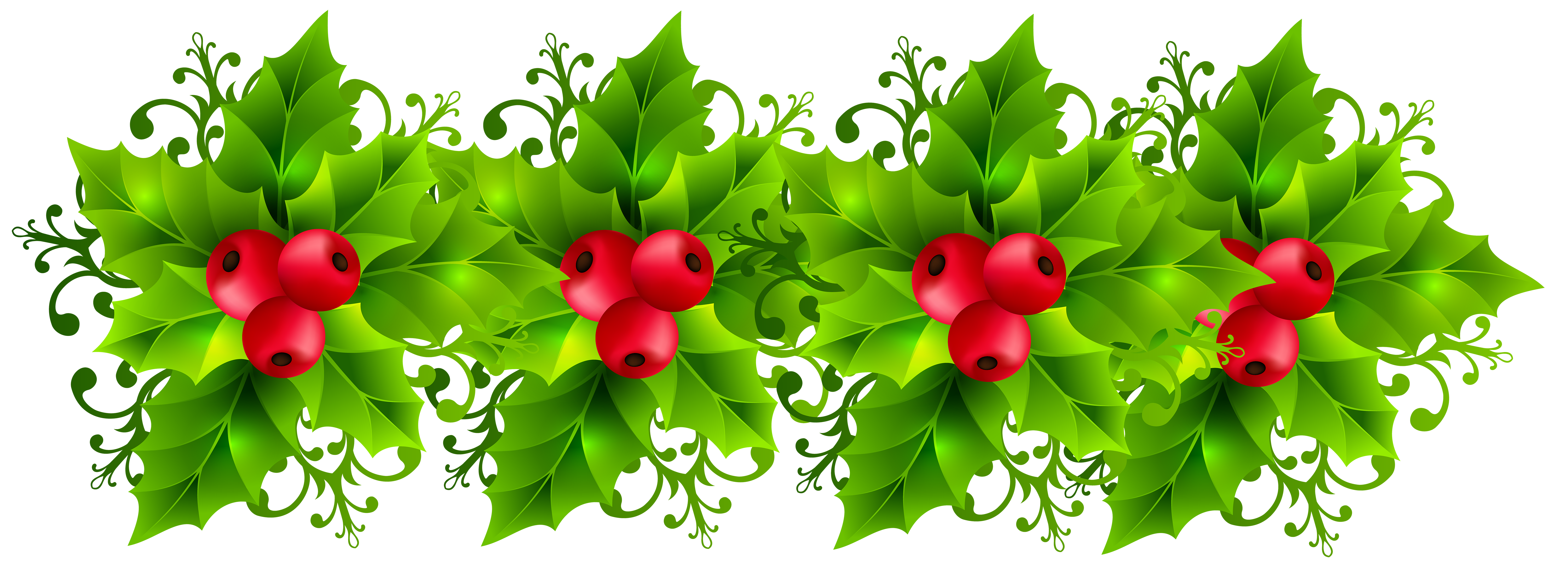 Christmas Holly Garland Transparent PNG Clip Art Image