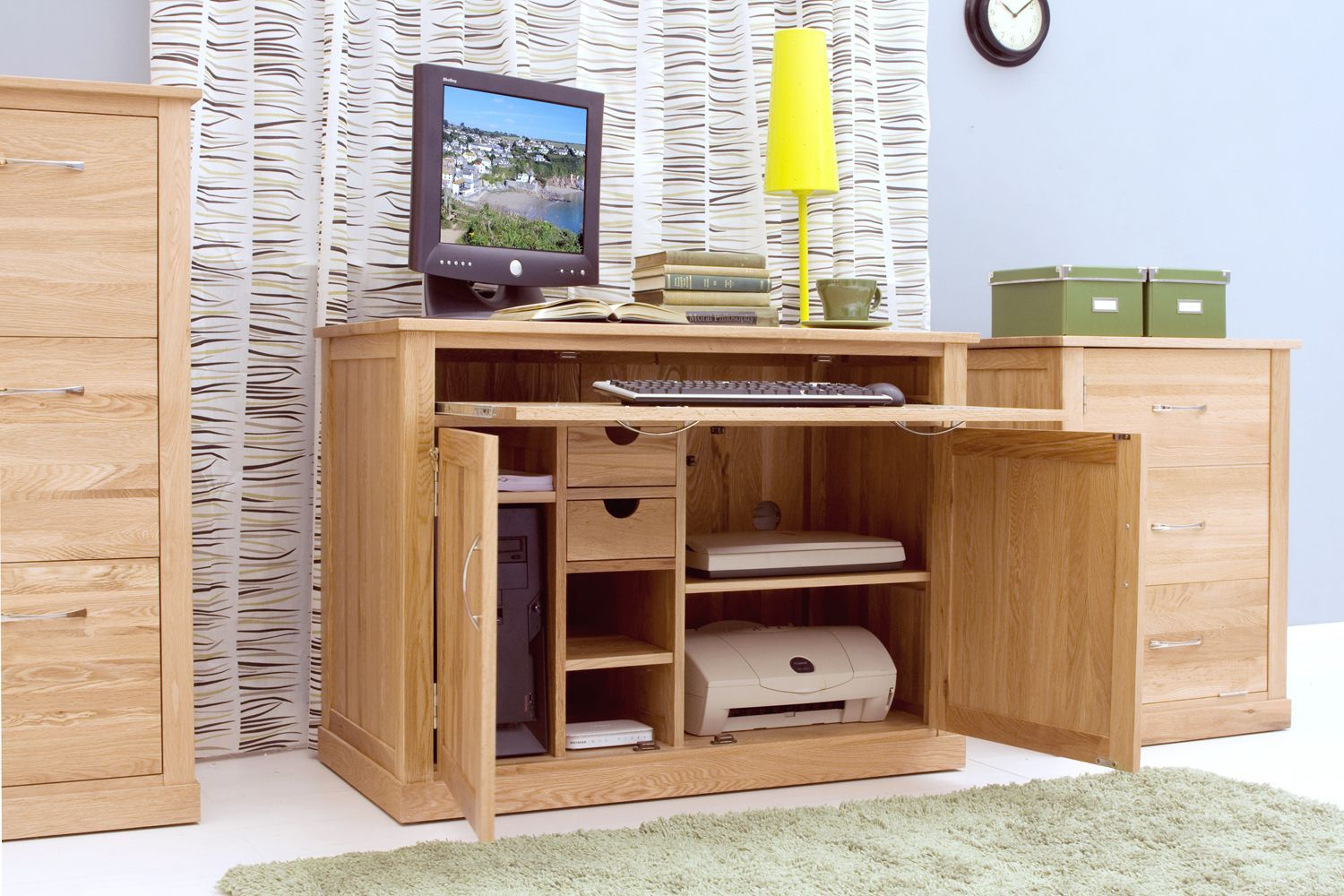 Superb ... And Secure And Away From Prying Eyes With This Beautifully Discreet  Desk That Can House All Your Computer Peripherals Too. Mobel Oak Hidden  Home Office