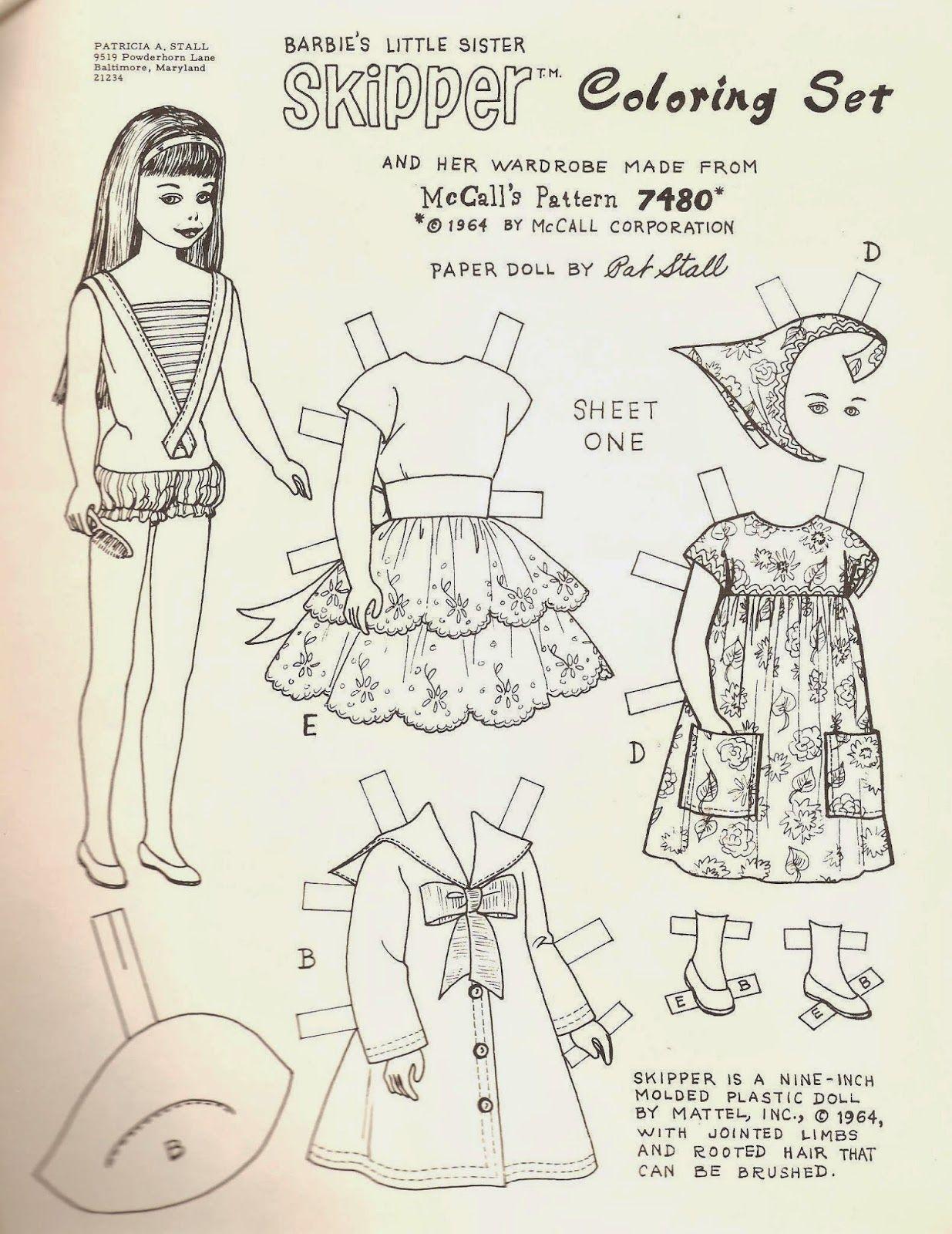 Barbie S Little Sister Skipper Coloring Set Vintage Paper Dolls Paper Dolls Paper Dolls Printable