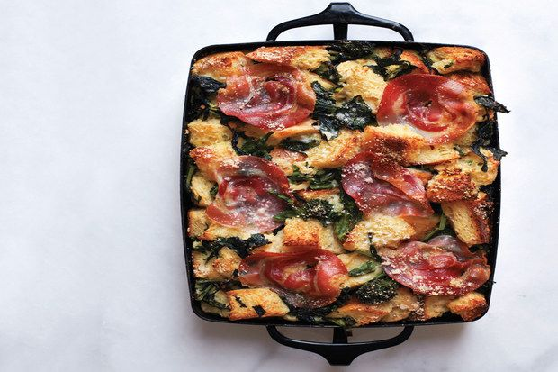 Parmesan Bread Pudding with Broccoli Rabe and Pancetta / Brian W. Ferry