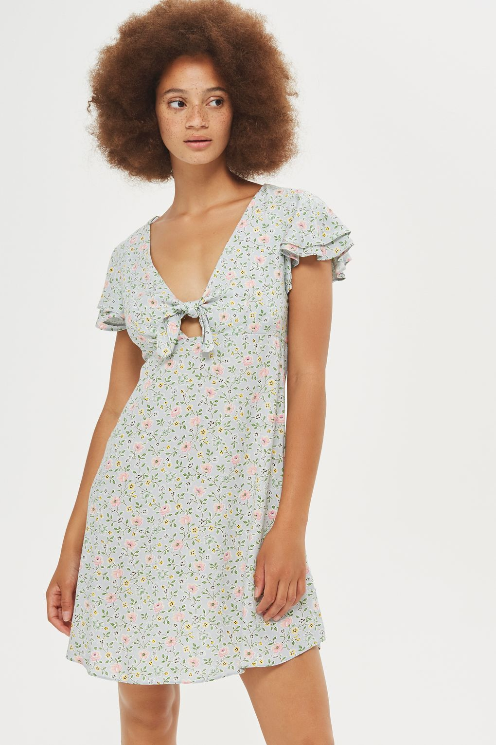 **Floral Ditsy Print Tie Front Skater Dress by Nobody's Child - Clothing- Topshop Europe