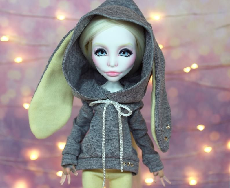 LAYAWAY for Nathalie! OOAK Monster High repaint doll in bunny hoodie #ooakmonsterhigh