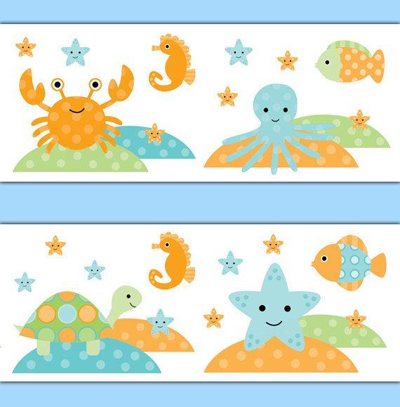 SEA LIFE NURSERY Wallpaper Border Wall Art Decal Fish Ocean Animal Creatures Sticker Kids Room Decor