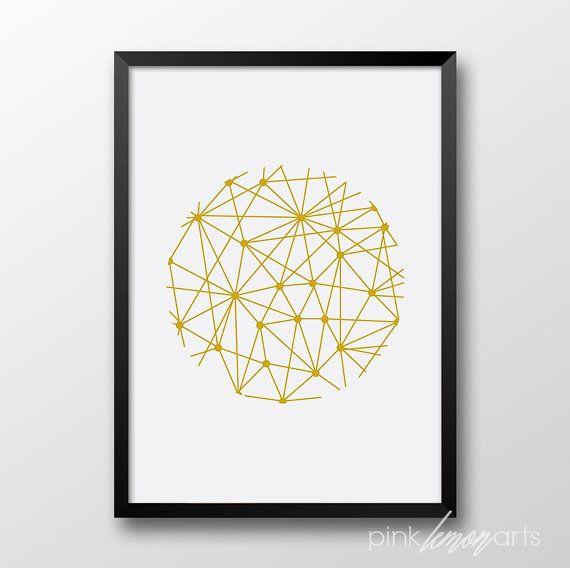 Gold circle dots Printable art Conteporary decor by PinkLemonArts