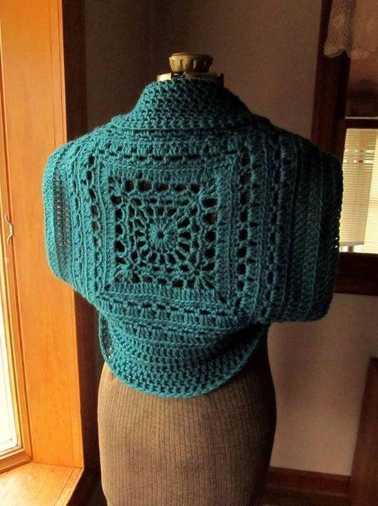 Inspirationgranny Square Shrug Crochet Pinterest Häkeln