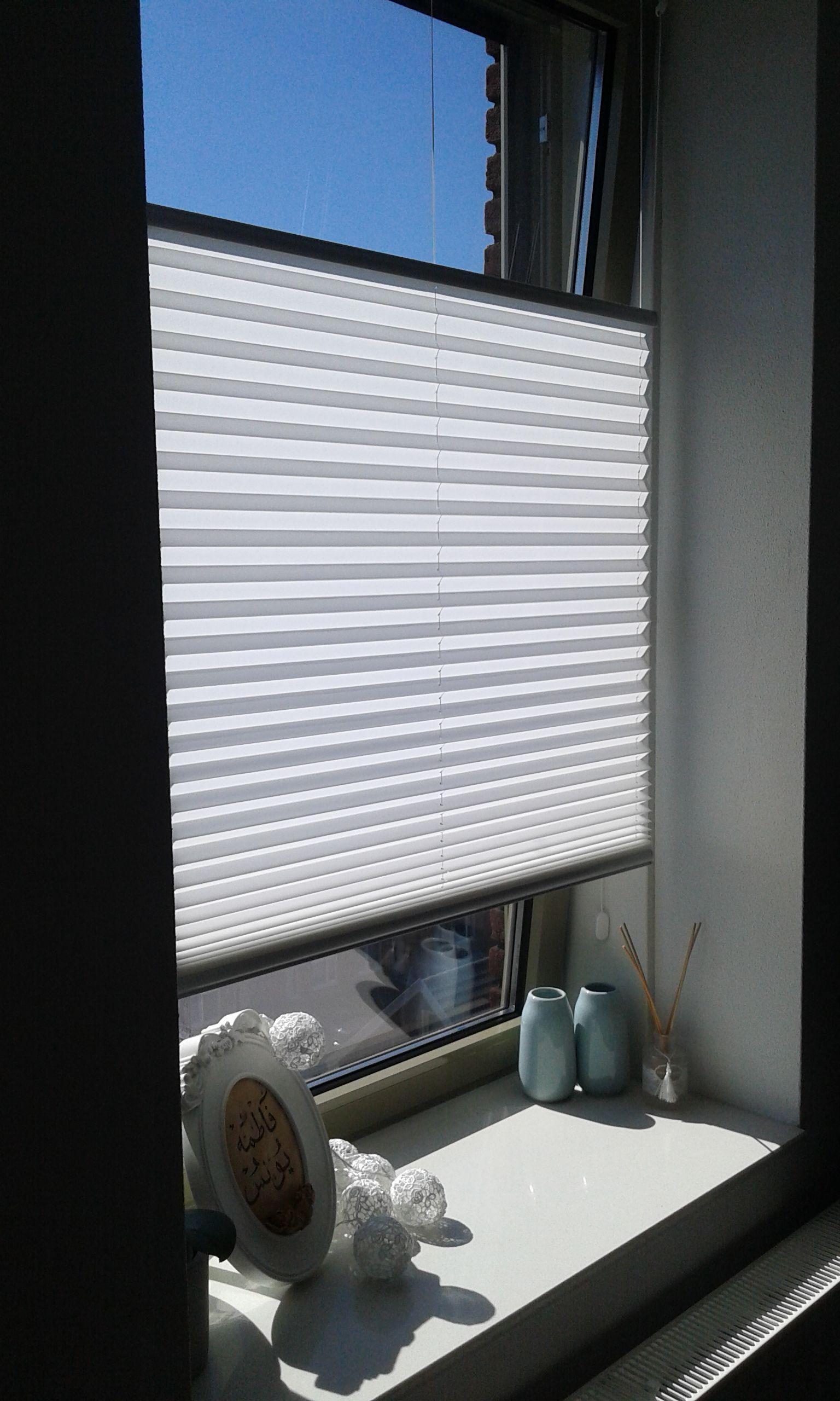 Een badkamer raam kan perfect worden bekleed met een plisségordijn ...