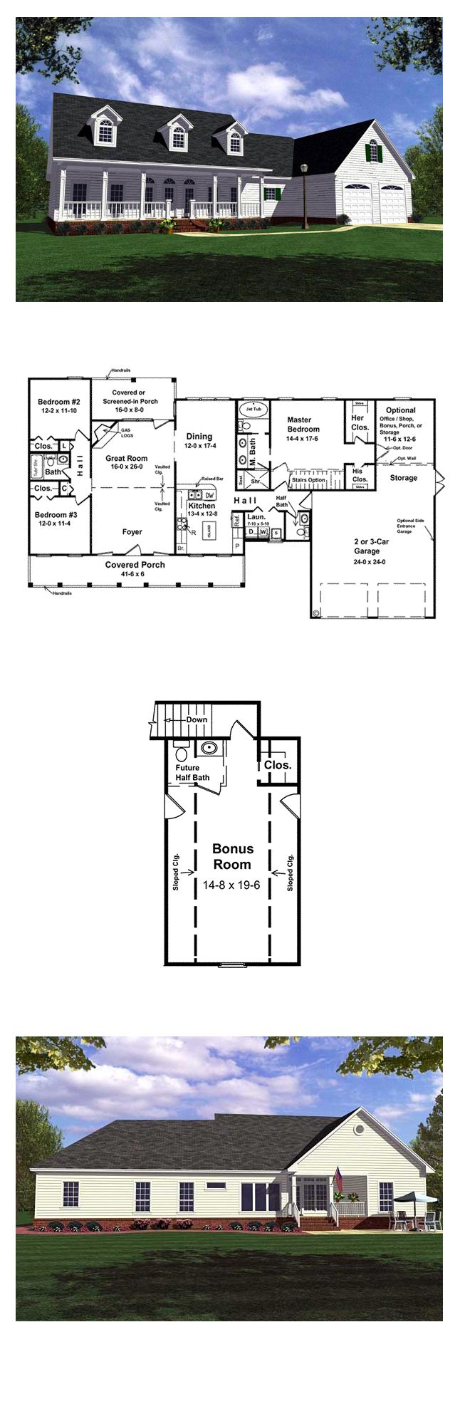 Country Farmhouse Ranch House Plan 59013 Country