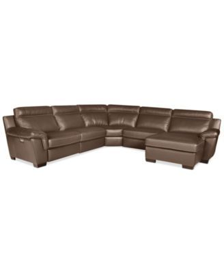 Julius 5 Piece Leather Motion Chaise Sectional Sofa Chair 2 Armless Chairs Corner And Lounge