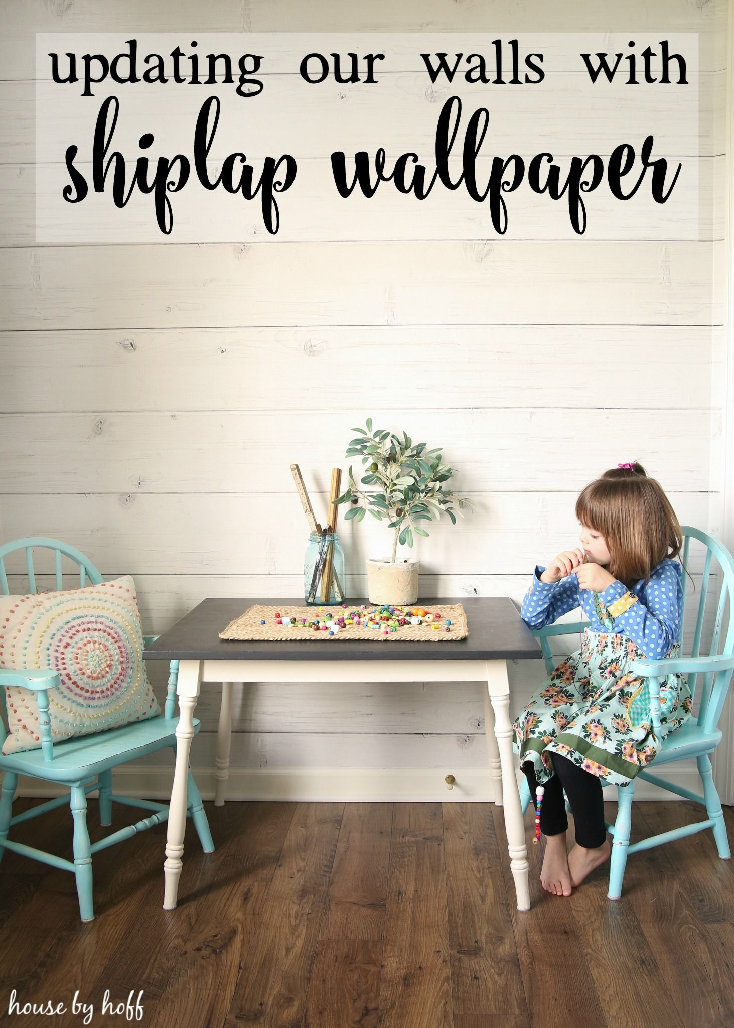 Updating Our Walls With Shiplap Wallpaper House By Hoff Home Wallpaper Farmhouse Wallpaper Kitchen Wallpaper