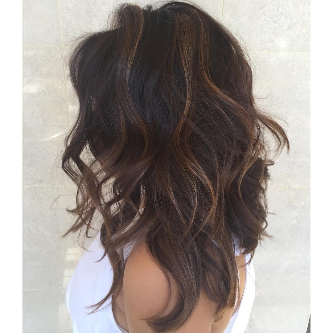Mid Length Wavy Dark Chocolate Brown Hair With Lots Of Layers Dark Brown Hair Balayage Brown Hair Balayage Long Shag Haircut