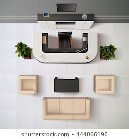 Top View Realistic Reception Office Interior Background ...