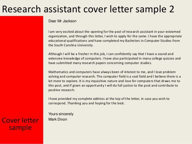 Cover Letter Sample Research Assistant - Research Assistant ...