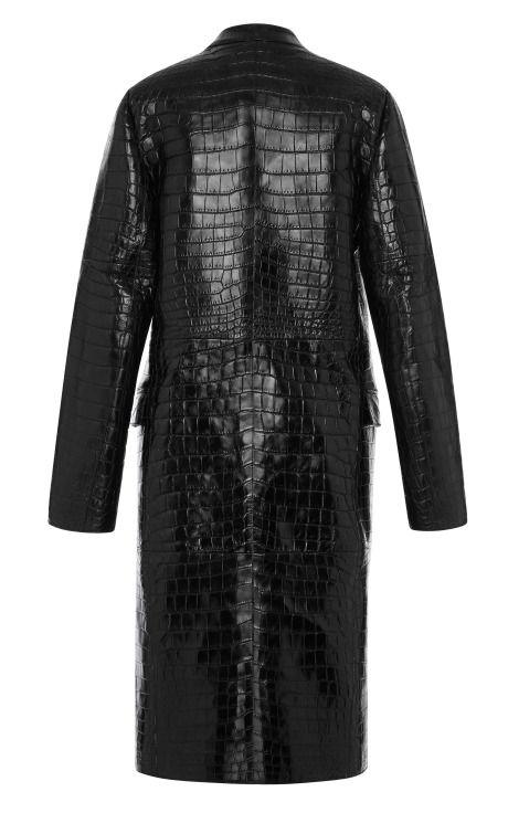 a04b76cbd6661 Black Crocodile Coat by Salvatore Ferragamo for Preorder on Moda Operandi