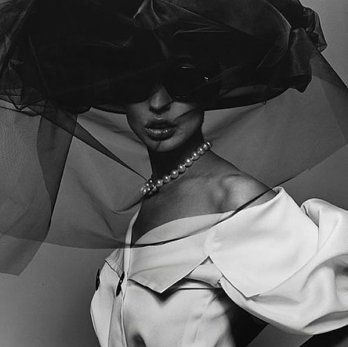 Fashion with Veil and Pearl Necklace by Michel Comte