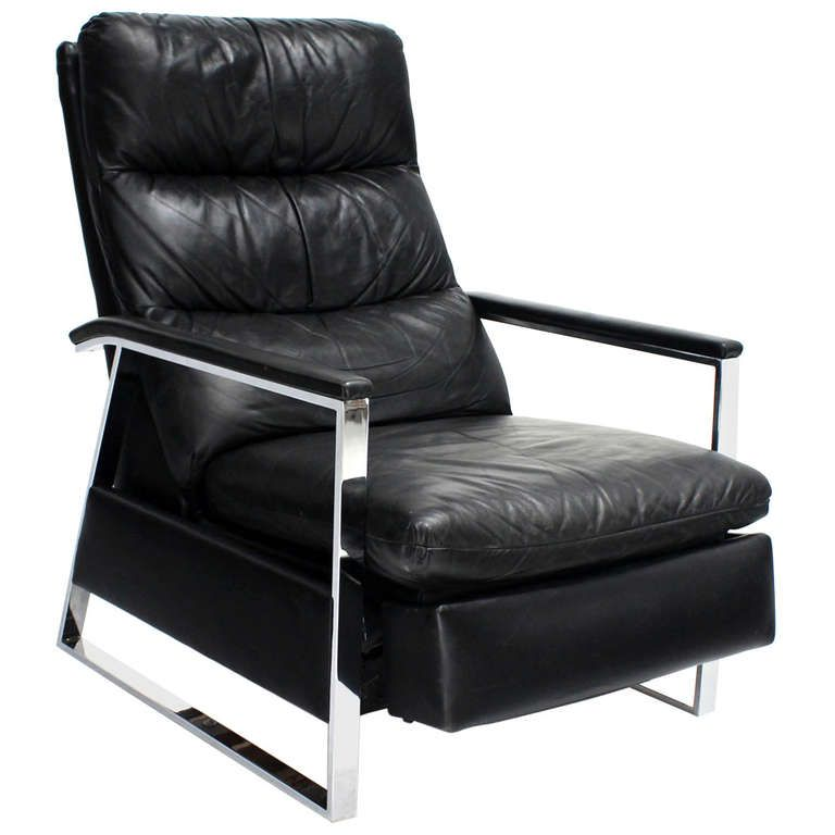 Groovy Mid Century Modern Leather And Chrome Base Recliner By Caraccident5 Cool Chair Designs And Ideas Caraccident5Info