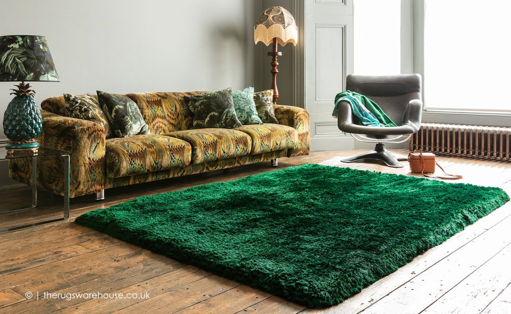Plush Emerald Shaggy Rug Free Uk Delivery Green Rug Living Room Rugs In Living Room Living Room Carpet